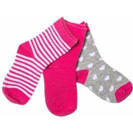 Носки для девочки Barkito, комплект 3 пары, серые с рисунком, малиновые, малиновые с рисунком в полоску