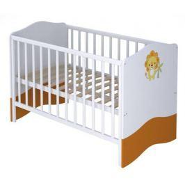 Кроватка Polini Basic «Джунгли» белый-оранжевый