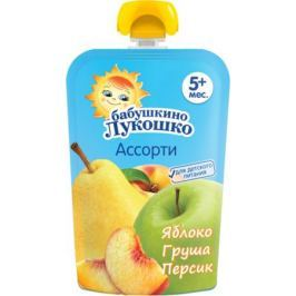 Пюре Бабушкино Лукошко Яблоко, груша и персик с 5 мес. 90 г (пауч)