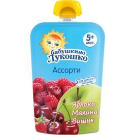 Пюре Бабушкино Лукошко Яблоко, малина и вишня с 5 мес. 90 г (пауч)