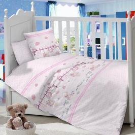 Комплект в кроватку Луняшки «Мамина радость» 6 пр. сатин розовый