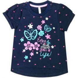 Блузка с коротким рукавом для девочки Barkito «Нежность», темно-синяя с рисунком