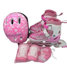 Набор: ролики, защита, шлем Ase-sport «ASE-620 Combo» pink-white