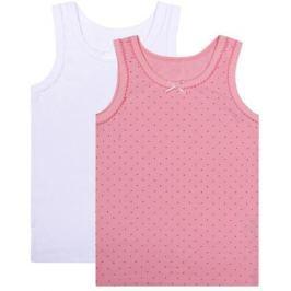 Майка для девочки Barkito «Бельё SS18» 2 шт. белая, розовая с рисунком