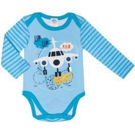 Боди с длинным рукавом для мальчика Barkito «Маленький пилот» 2 шт. белое с рисунком, голубое в полоску