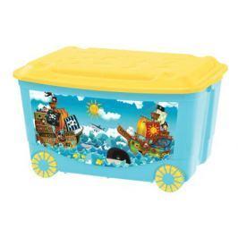 Ящик для игрушек Пластишка на колесах 50 л голубой