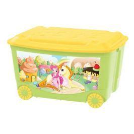 Ящик для игрушек Пластишка на колесах 50 л зеленый