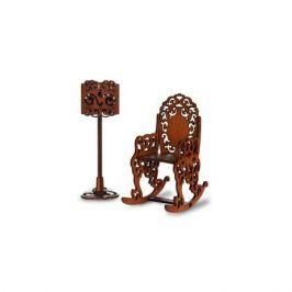Набор мебели ЯиГрушка «Качалка и торшер» коричневый