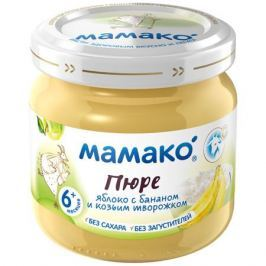 Пюре Мамако Яблоко, банан и козий творожок с 6 мес. 80 г