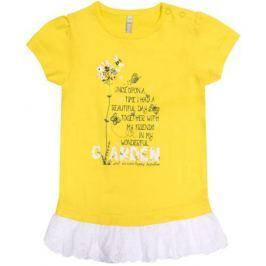 Платье модель «туника» детское Barkito «Желтые цветы», желтое с белой отделкой
