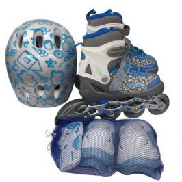 Набор: ролики, защита, шлем Ase-sport «ASE-620 Combo» grey-bleu