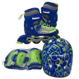 Набор: ролики, защита, шлем Ase-sport «ASE-620 Combo» blue-green