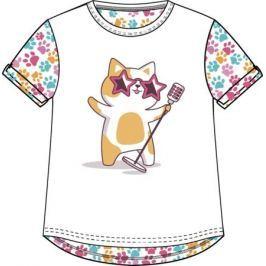 Футболка с коротким рукавом для девочки Barkito «Мартовские коты», белая с рисунком