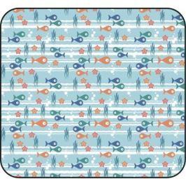Простынка ясельная Barkito «Подводные жители», голубая с рисунком