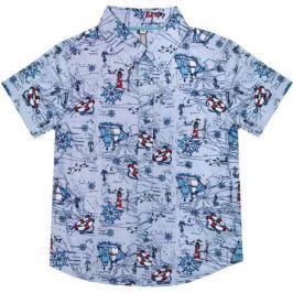 Сорочка для мальчика Barkito «Путешествие», голубая с рисунком