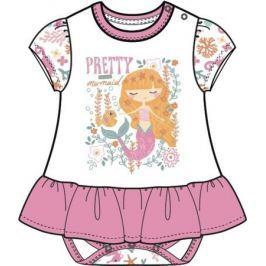 Боди для девочки Barkito «Маленькая сирена», белое с розовой отделкой