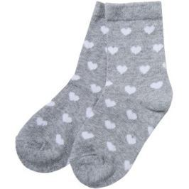 Носки для девочки Barkito, серые с рисунком «сердечки»
