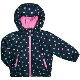 Куртка для девочки Barkito, темно-синяя с рисуком «горошек»