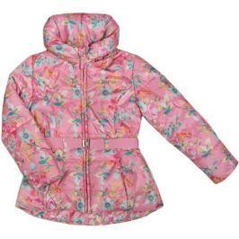 Куртка для девочки Barkito, розовая с рисунком «цветы»