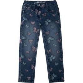 Брюки модель «Джинсы» для девочки Barkito «Деним», голубые с рисунком «бабочки»