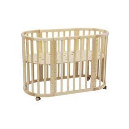 Кроватка-трансформер Polini «Simple 910» овальная натуральная