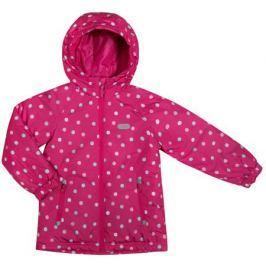Куртка для девочки Barkito, фуксия с рисунком в горошек