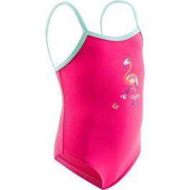 Купальник Для Малышек Сплошной Розовый С Принтом Фламинго