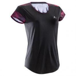 Женская Футболка Для Фитнеса Черная С Розовыми И Черными Элементами 500