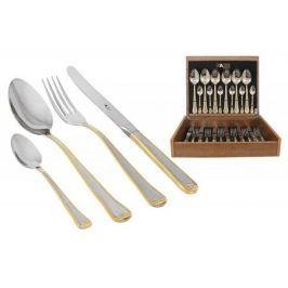 Face Набор столовых приборов 24 предмета на 6 персон Falperra Gold в деревянной коробке.