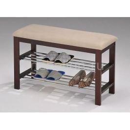 Банкетка-стеллаж для обуви Петроторг А1244L орех темный/хром