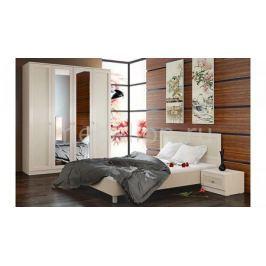 Гарнитур для спальни Мебель Трия Сакура ГН-183.01.03 дуб белфорт/дуб белфорт/кожа Лара светлая