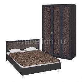 Гарнитур для спальни Мебель Трия Сакура ГН-183.01.04 венге цаво/венге цаво/кожа Лара темная
