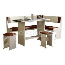 Набор кухонный Мебель Трия Уголок кухонный Амиго дуб девон/темно-коричневый/бежевый