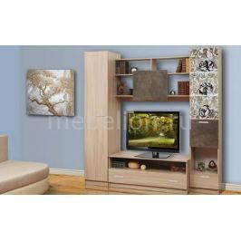 Стенка для гостиной Олимп-мебель Магна-2 ясень шимо светлый/камень темный
