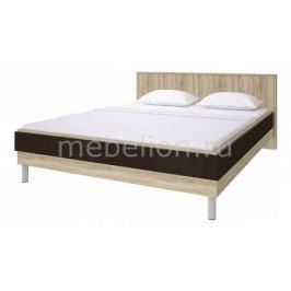 Кровать двуспальная Столлайн Ирма СТЛ.143.11 дуб сонома/шоколад глянец