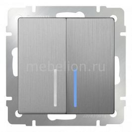 Выключатель проходной двухклавишный с подсветкой без рамки Werkel Серебряный рифленый WL09-SW-2G-2W-LED