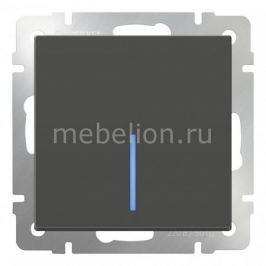 Выключатель одноклавишный с подсветкой без рамки Werkel Серо-коричневый WL07-SW-1G-LED