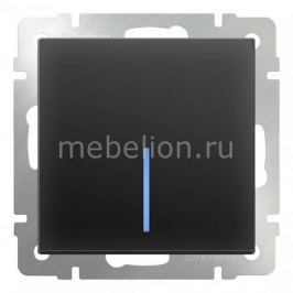 Выключатель одноклавишный с подсветкой без рамки Werkel Черный матовый WL08-SW-1G-LED