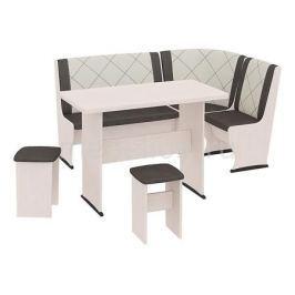 Уголок кухонный Мебель Трия Челси Т2 дуб белфорт/лён бежевый/лён коричневый
