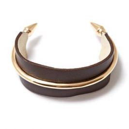 Браслеты Herald Percy Коричневый кожаный браслет с металлическими элементами