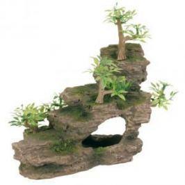 TRIXIE Грот Trixie для аквариума каменная лестница с растениями 19,5 см пластиковый