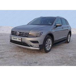 Передняя защита (овальная,пакет Offroad) VWTIGOFR17-48 для Volkswagen Tiguan 2017-