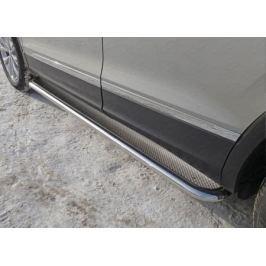 Защита порогов 42мм (лист нерж.) VWTIG17-09 для Volkswagen Tiguan 2017-