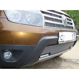 Защита радиатора, хром (с вырезом под ДХО) Allest RDUS.DHO.chrome для Renault Duster 2011-