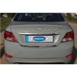 Накладка над номером на крышку багажника, нерж. Omsa Line 3214053 Hyundai Solaris 2011-