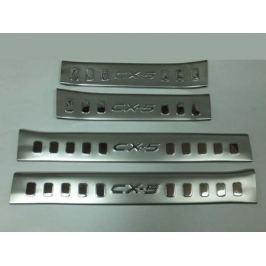 Накладки на внутренние пороги дверей, 4 части, нерж. (на пластик) OEM-Tuning CNT35-CX5-018 для Mazda CX-5 (2015 - 2017)