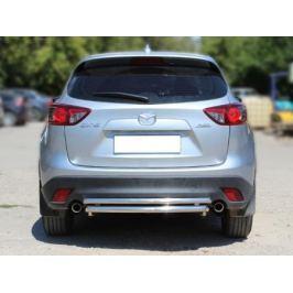 Защита заднего бампера двойная d-53+43 Технотек MCX515_3 для Mazda CX-5 (2015 - 2017)