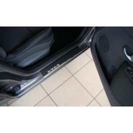 Накладки на внутренние пороги с надписью, нерж. сталь+карбон, 4 шт. Alu-Frost 29-0817 для Nissan Qashqai 13-