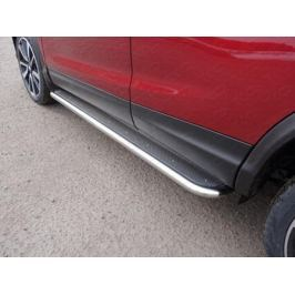 Пороги с площадкой (нерж. лист) 42,4 мм (Сборка РФ) ТСС NISQASHSPB15-08 для Nissan Qashqai 13-