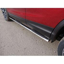 Пороги овальные с накладкой 75х42 мм (Сборка РФ) ТСС NISQASHSPB15-11 для Nissan Qashqai 13-